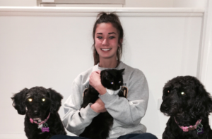 Ashley and her 2 dogs and her cat