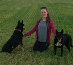 Chelsea with her two dogs, Bradman and Max